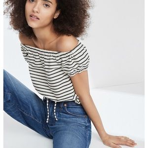 ✨NWT Madewell Striped Off the Shoulder top
